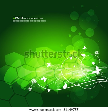 Editable modern green vector floral background with space for your text - stock vector