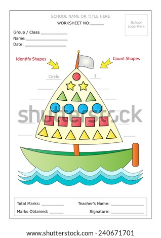 Editable Montessori Worksheet: A boat having colorful basic shapes inside its sail. Identify shapes in each row & write names on left side. Count & write number of shapes on right side. Ready to print - stock vector