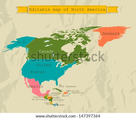 Editable North America Map All Countries Stock Vector 147397364