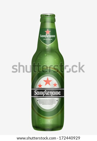 Editable Realistic Promotional Beer Bottle - stock vector