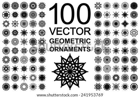 Editable round east ornament set. 100 vector symbols - stock vector