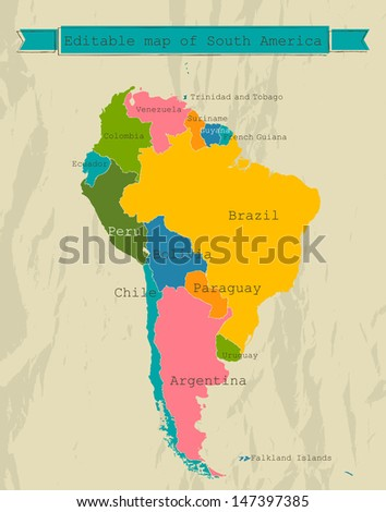 Editable South America  map with all countries. Vector illustration EPS8 - stock vector
