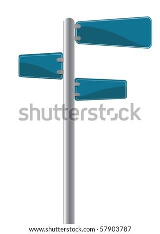 Editable street signs over white - stock vector