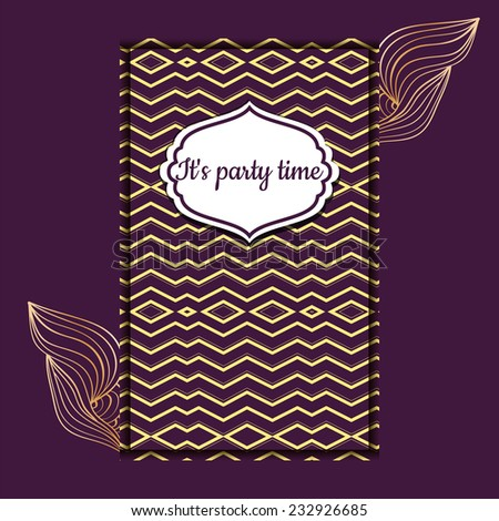 Editable template. Art Deco Pattern. Vintage  invitation. Purple and gold geometrical backdrop. Retro frame. - stock vector
