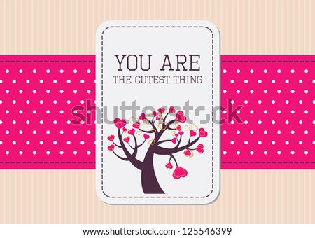 Editable template for a valentine card with brown paper background, a pink polkadot ribbon and a retro label with your message