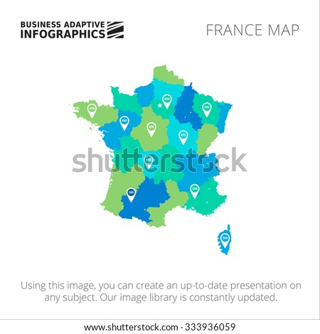 Editable template of detailed map of France with map pointers, isolated on white - stock vector