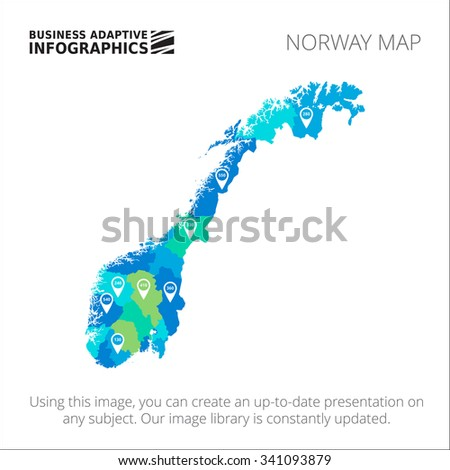 Editable template of detailed map of Norway with percent marks, isolated on white - stock vector