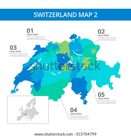 Editable template of detailed map of Switzerland with information marks and country silhouette on world map, isolated on white - stock vector