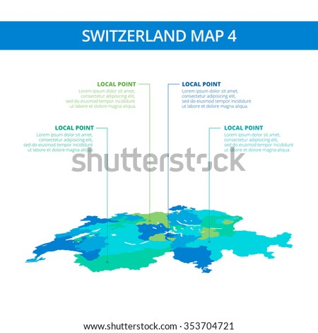 Editable template of detailed map of Switzerland with information marks, blue and green version, isolated on white - stock vector