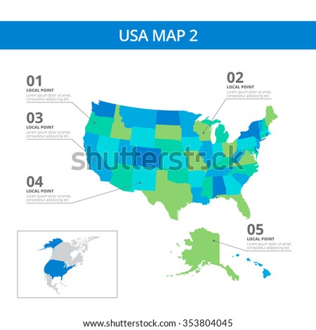 Editable template of detailed map of the USA with information marks and country silhouette on world map, isolated on white - stock vector