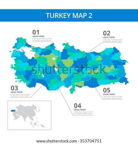 Editable template detailed map turkey information stock vector editable template of detailed map of turkey with information marks and country silhouette on world map gumiabroncs Image collections