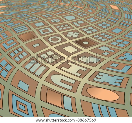 Editable vector abstract illustration of a generic map of a twisted street plan - stock vector
