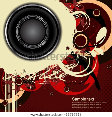 Editable vector audio background with space for your text - stock vector