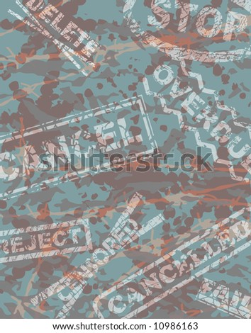 Editable vector background illustration of negative rubber stamps