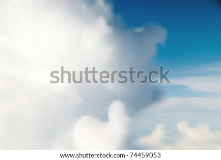 Editable vector background of clouds and blue sky made with a gradient mesh - stock vector