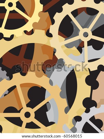 Editable vector background of cogs and wheels - stock vector