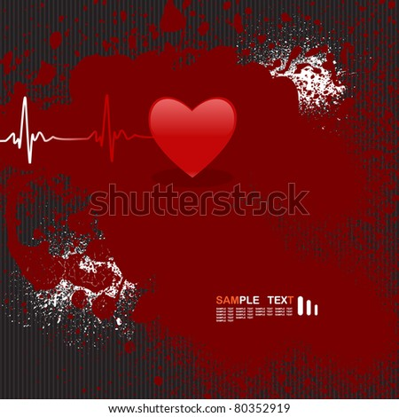Editable vector background with space for your text - heart and heartbeat symbol - stock vector