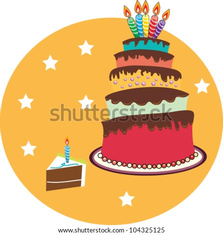 Editable vector birthday day on stars background