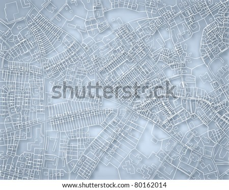Editable vector blueprint sketch of a detailed generic street map without names with background made using a gradient mesh - stock vector
