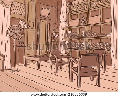 Editable vector brown sketch of an olden reading room or living room with wooden furniture - stock vector