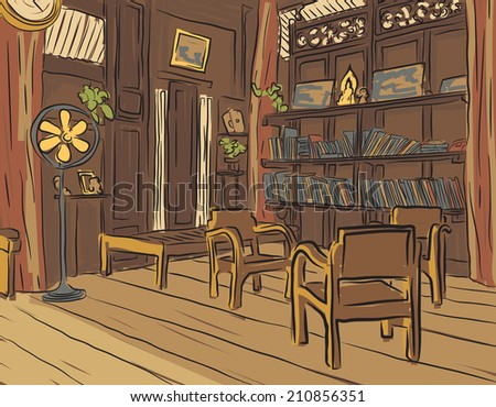 Editable vector color sketch of an olden reading room or living room with wooden furniture - stock vector