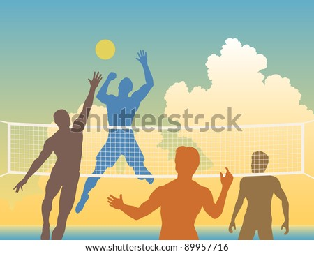 Editable vector colorful silhouettes of four men playing beach volleyball - stock vector