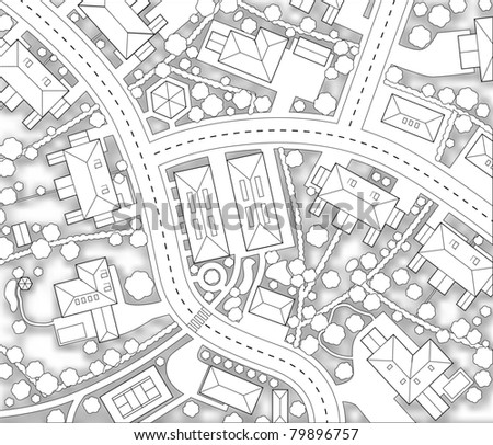 Editable vector cutout map of a generic residential area with background shadow made using a gradient mesh - stock vector