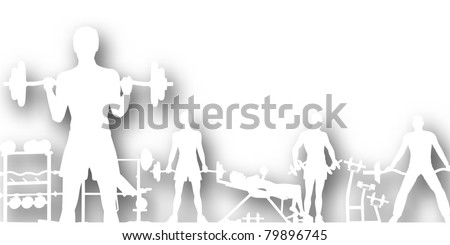 Editable vector cutout of people exercising in a gym with background shadow made using a gradient mesh - stock vector