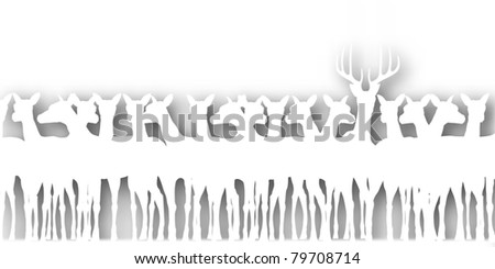 Editable vector cutout silhouette of a herd of deer with background shadow made using a gradient map