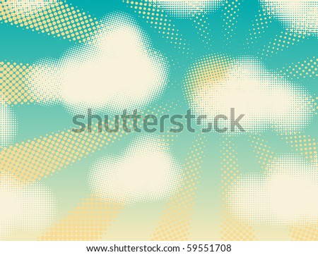 Editable vector design of halftone cumulus clouds and sunshine - stock vector