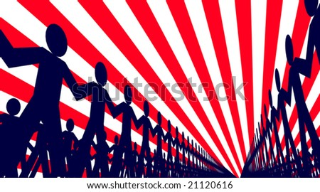 Editable vector design of lines of papermen - stock vector