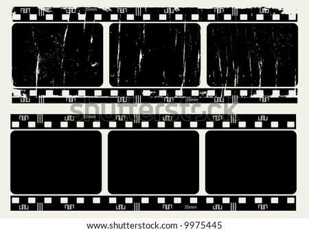Editable vector film frame  - Normal and grunge textured version - stock vector
