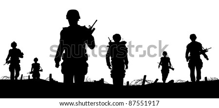 Editable vector foreground of silhouettes of walking soldiers on patrol with figures as separate elements - stock vector