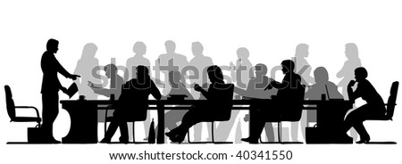Editable vector foreground silhouette of people in a meeting with all figures and other elements as separate objects - stock vector