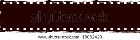 Editable vector grunge film frame - stock vector