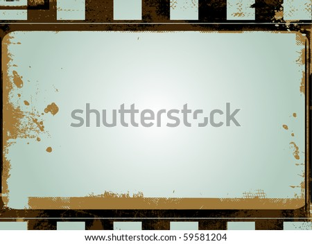 Editable vector grunge film frame background with space for your text or image. - stock vector