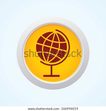 Editable Vector Icon of globe on Button. Eps-10. - stock vector