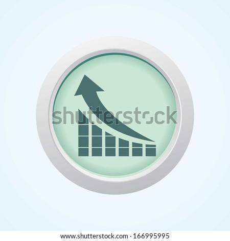 Editable Vector Icon of Graph on Button. Eps-10. - stock vector