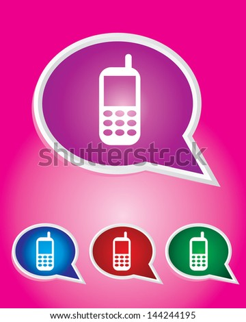Editable Vector Icon of Mobile phone On Speech Bubble Shape. EPS 10 - stock vector