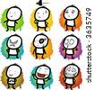 Editable vector icons, symbols or buttons - Boy poses - stock vector