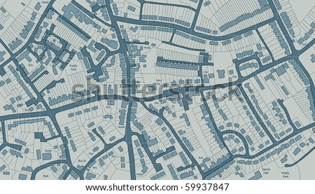 Editable vector illustrated map of housing in a generic town - stock vector