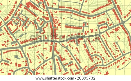 Editable vector illustrated map of housing in a generic town without names - stock vector