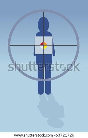Editable vector illustration - Hearth on cross hair - stock vector