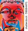 Editable vector illustration of a Buddha statue's face in popart color style - stock photo