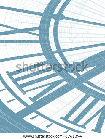 Editable vector illustration of a clockface with grunge as separate object - stock vector