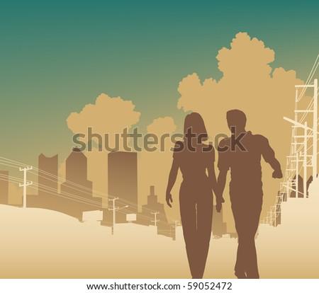 Editable vector illustration of a couple walking along an urban street - stock vector