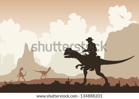 Editable vector illustration of a cowboy riding a Dilophosaurus dinosaur in a primeval landscape - stock vector
