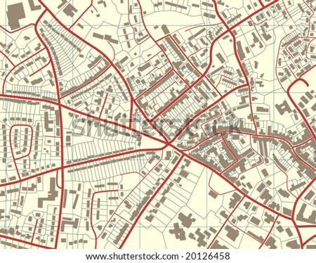 Editable vector illustration of a detailed generic street map without names - stock vector