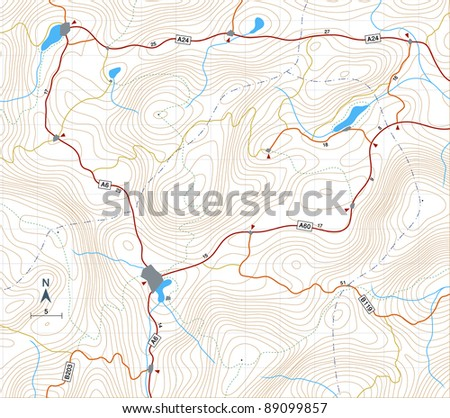 Editable vector illustration of a generic map showing relief contours - stock vector