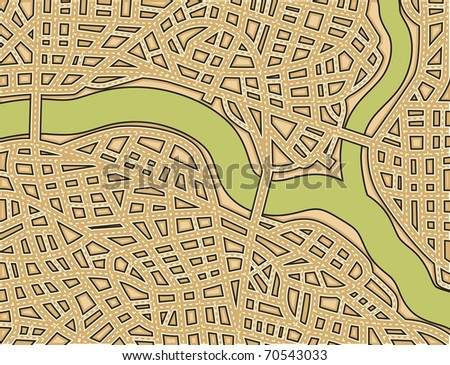 Editable vector illustration of a generic street map with no names - stock vector